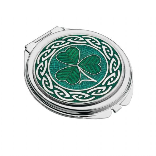 Compact Mirror Silver Plated Shamrock Celtic Handbag Magnifying Travel Cosmetic